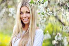 Portrait Of Young Beautiful Woman, On Green Background Summer Na Royalty Free Stock Photo