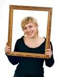 Portrait Of Young Cheerful Woman In Frame Royalty Free Stock Images