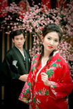 Portrait Of Young Couple In Japan Dress Royalty Free Stock Photos