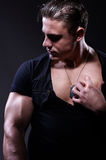 Portrait Of Young Handsome Muscular Man Stock Images