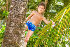 Portrait Of Young Happy Child Boy In Tropical Background Royalty Free Stock Photos
