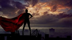 Free Portrait Of Young Hero Woman With Super Person Red Cape Guard City Stock Image - 148738931