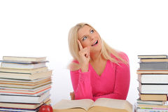 Portrait Of Young Student Girl With Lots Of Books Stock Image