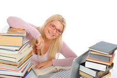 Portrait Of Young Student Woman With Lots Of Books Stock Images