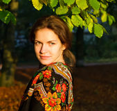 Portrait Of Young Woman In Russian Shawl Royalty Free Stock Image