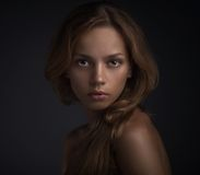 Free Portrait Of Young Woman On Dark Backround Stock Images - 31025204