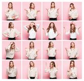 Portrait Of Young Woman With Happy And Unhappy Facial Expressions Royalty Free Stock Photo
