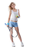 Portrait Of Young Woman With Tennis Racket Stock Photography