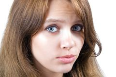 Portrait of the offended beauty young woman Stock Image