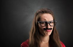 Portrait of an offended girl stock images