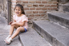 Portrait of offended little girl Royalty Free Stock Image