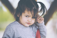 Portrait of offended little girl Royalty Free Stock Photography