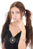 Portrait of offended woman in black over white Royalty Free Stock Photography