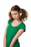 Portrait of offended woman. In green dress over white Royalty Free Stock Images