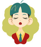 Portrait of office girl with closed eyes with blue-green hair in. Vector portrait of office girl with closed eyes with blue-green hair in red jacket and blue Stock Image