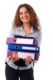 Portrait Office Girl With Documents. Royalty Free Stock Images