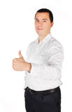 Portrait Ofyoung Businessman With Thumb Up Stock Images