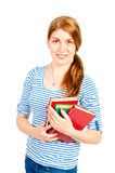 Portrait ofyoung student with the literature Stock Image