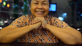 Portrait of old asian people, happy senior asia woman with white hair looking at camera and smiling. Sequence stock video
