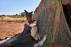 Portrait old Bushmen woman, Namibia Stock Photo
