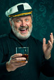 Portrait of old captain or sailor man in black sweater Royalty Free Stock Photography