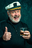 Portrait of old captain or sailor man in black sweater Stock Photo