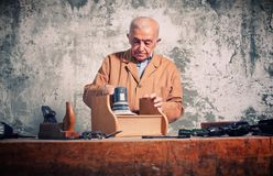 Portrait of old caucasian carpenter Royalty Free Stock Images