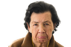 Portrait of old cranky woman grandmother Stock Images