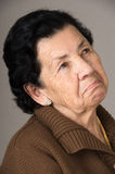 Portrait of old cranky woman grandmother Stock Photos