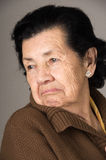 Portrait of old cranky woman grandmother Stock Photo