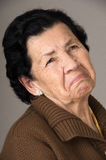 Portrait of old cranky woman grandmother Royalty Free Stock Photo