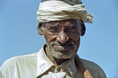 Portrait of old Ethiopian man with weathered face