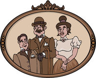Portrait of an Old Family. Cartoon artwork line-art Royalty Free Stock Photography