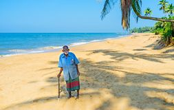 Portrait of old fisherman in Bentota Royalty Free Stock Photography