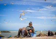 Old fisherman in a break between work. royalty free stock images