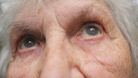 Portrait of old grandmother looking up. Close up eyes of an elderly woman with wrinkles around them stock video