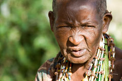 Portrait of an old Hadzabe woman Stock Photo