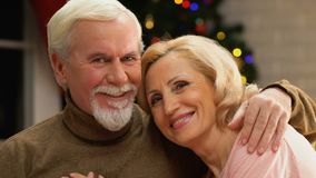 Portrait of old happy couple celebrating Christmas together, secure retirement stock footage