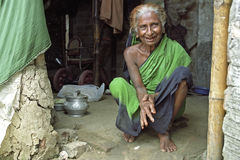Portrait of old happy laughing Bangladeshi woman Stock Photography