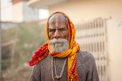 Portrait of a old indian Sadhu Stock Photography