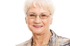 Portrait of an old lady in eyeglasses. Royalty Free Stock Photo