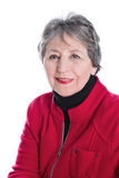 Portrait of old lady with grey hair in red jacket isolated on wh Royalty Free Stock Image