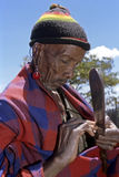 Portrait old Maasai man with stretched earlobe Stock Photos