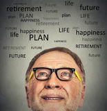 Portrait of Old Man with glasses looking up Royalty Free Stock Image