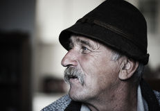 Portrait of old man with mustache, Stock Image