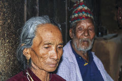 Portrait of old nepalese woman Stock Photos
