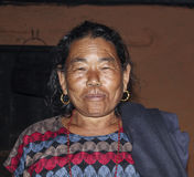 Portrait of old nepalese woman Stock Images
