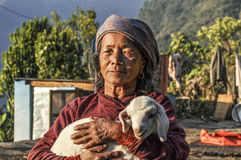 Portrait of old nepalese woman. She wears the  young lamb in her Stock Photos