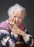 Portrait of old sad woman Royalty Free Stock Photos