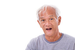 Portrait of old senior man with eye sickness, surfer's eye, pter Royalty Free Stock Photos